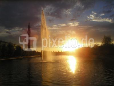 Sonnenuntergang Leipziger Messe