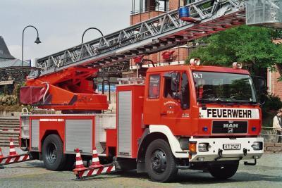 Feuerwehrwagen nach dem Einsatz