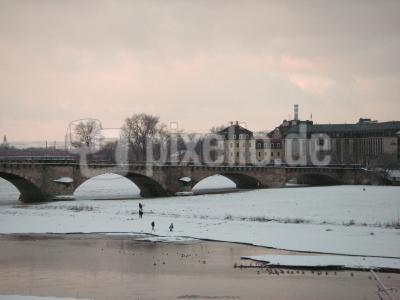 Elbufer Dresden im Winter