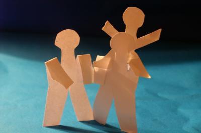 Papierkette - Familie mit 1 Kind/1