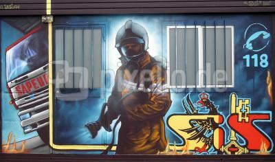 graffiti für feuerwehr
