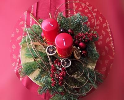 Weihnachtsgesteck rot