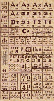Lebensmittelmarken von 1950