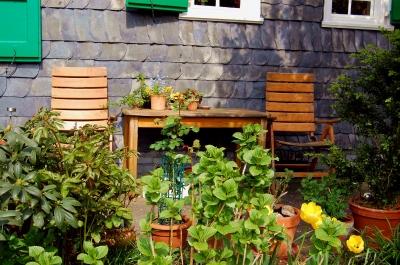 romantischer Vorgarten eines Bergischen Schieferhauses