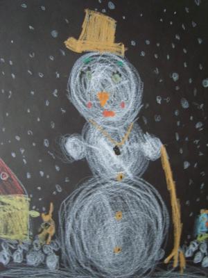 Kinderkunstwerk Schneemann