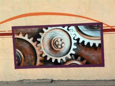 GRAFFITTI AN EINER INDUSTRIERUINE