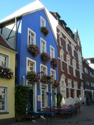"""Das """"Kuhviertel"""" mit dem blauen Haus in Münster/Westfalen"""