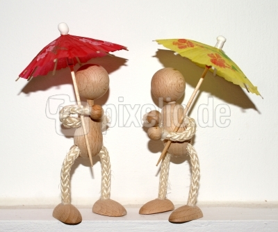 Holzmännchen Begegnung mit Schirmen
