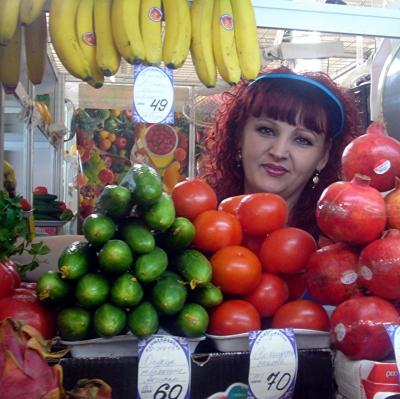 Obstverkäuferin in Irkutsk ( Russland )