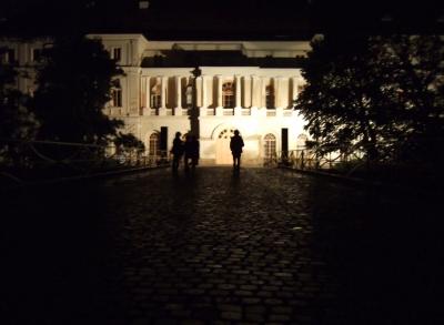 Dunkle Gestalten vor dem Schloss