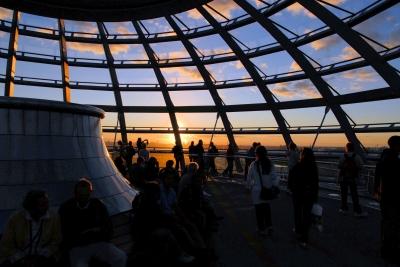 Abendsonne in der Reichstagskuppel