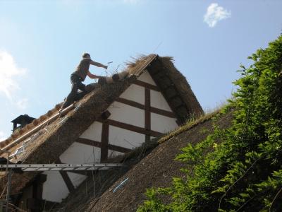 Ein Reetdach wird gedeckt - Freilichtmuseum Kommern