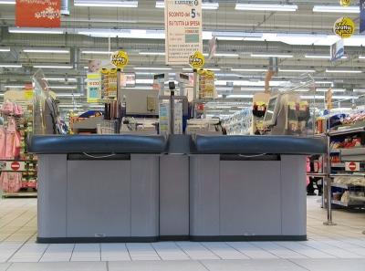 Italien: Verwaiste Supermarktkasse