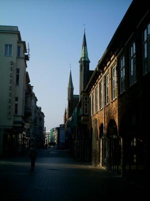 Sonnenaufgang Fußgängerzone Lübeck