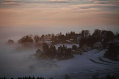 Winterliches Städtchen im Vogtland