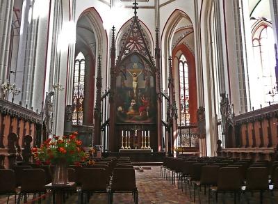 Mecklenburger Dom in Schwerin mit Rosen