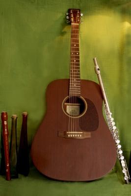 Stilleben mit Gitarre und Flöte