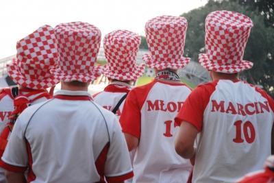Polnische Fußball-Fans in der Fan-Meile