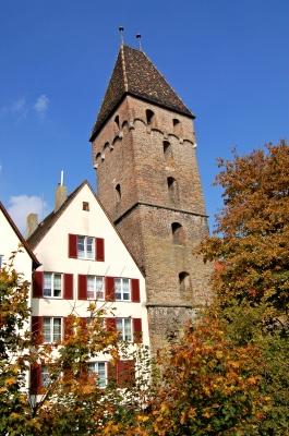 Ulmer Altstadt von der Stadtmauer aus gesehen