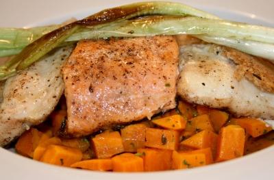 Fischvariationen auf Süßkartoffeln 3