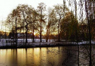 Abendstimmung am winterlichen Teich 1