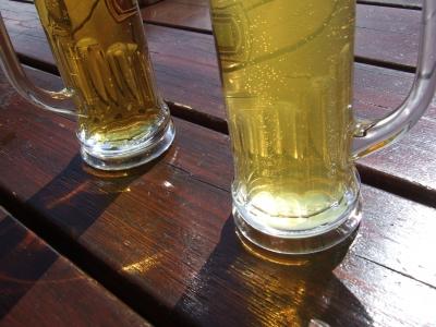 Skipause mit Bier und Radler