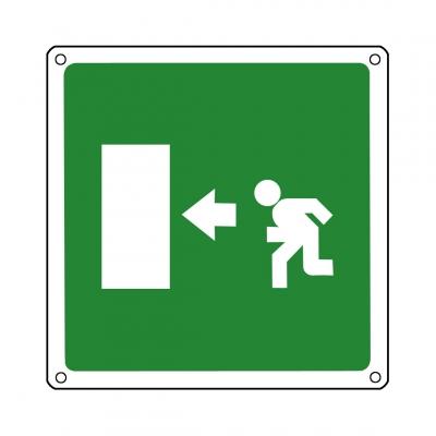 Rettungsschild: Rettungsweg links!