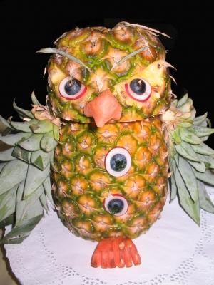 Dekoration mit Ananas-Eule