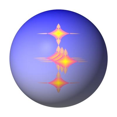 Kugel blau weiß mit Ornamenten