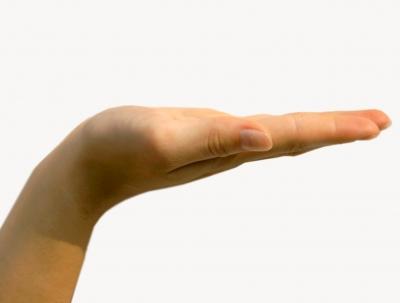 Präsentierteller - Hand für Fotomontagen