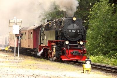 Zugausfahrt der Harzer Schmalspurbahn am Bahnhof Drei Annen Hohne