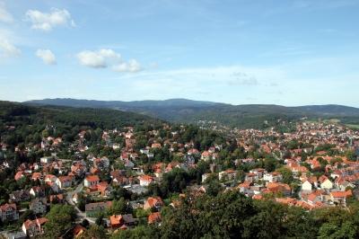 Blick vom Schloss Wernigerrode Richtung Brocken
