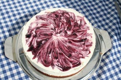 Torte mit Heidelbeersoße