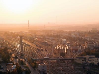 Hauptbahnhof - Großstadt - Luftbild
