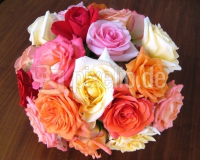 Ein bunter Rosenstrauß