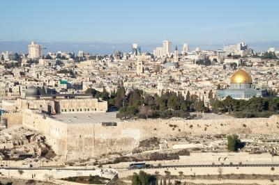 Jerusalem Altstadt mit al-Aqsa-Moschee und Felsendom