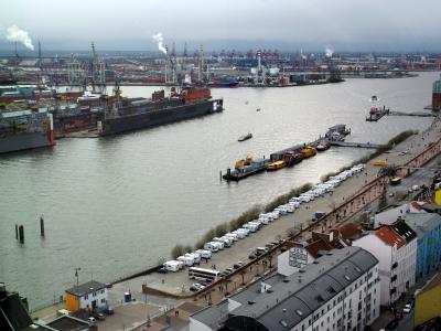 Blick zum Hamburger Hafen