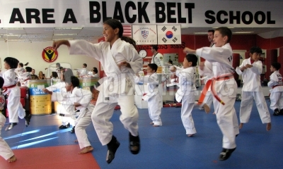 Karate kids in action
