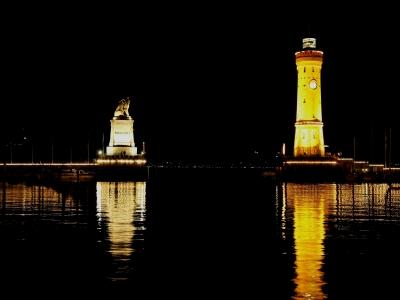 Hafen Lindau bei Nacht