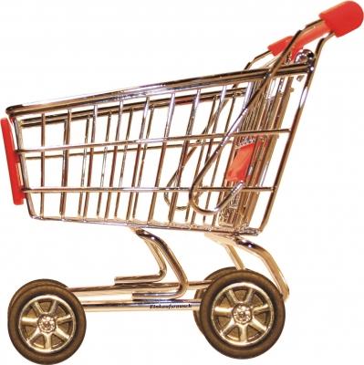 Einkaufswagen mit Räder weißer Hintergrund