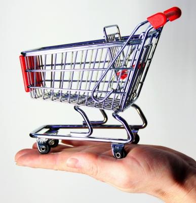 Einkaufswagen auf Hand
