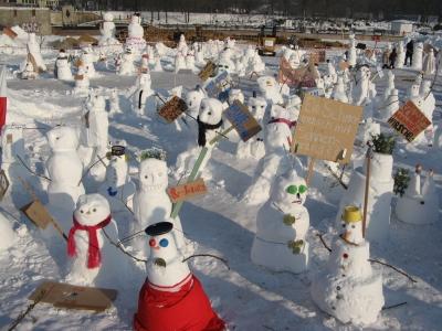 Protest der Schneemänner
