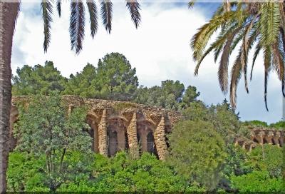 Steinsäulen im Park Guell - Barcelona