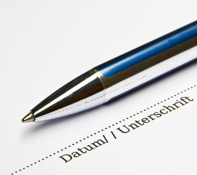 Vertrag zur Unterschrift
