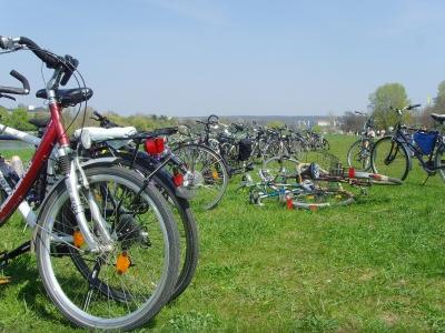 Fahrrad-Tour-Pause am Elbufer - Dresden