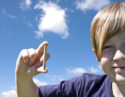 Holzpellet in Kinderhand