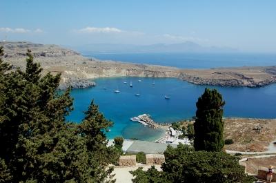 Hafen von Lindos, von der Akropolis aus gesehen