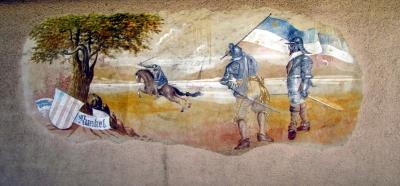 Runkel an der Lahn, mittelalterliche Szene an Hauswand