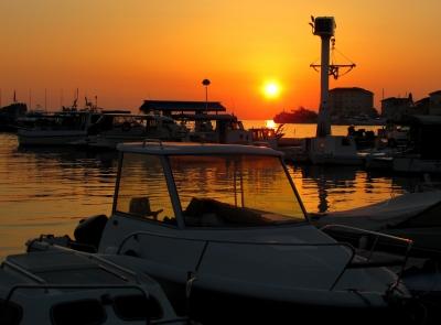 Abendlicher Yachthafen in Porec (Istrien)
