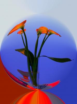 Glaskugel mit Blumen